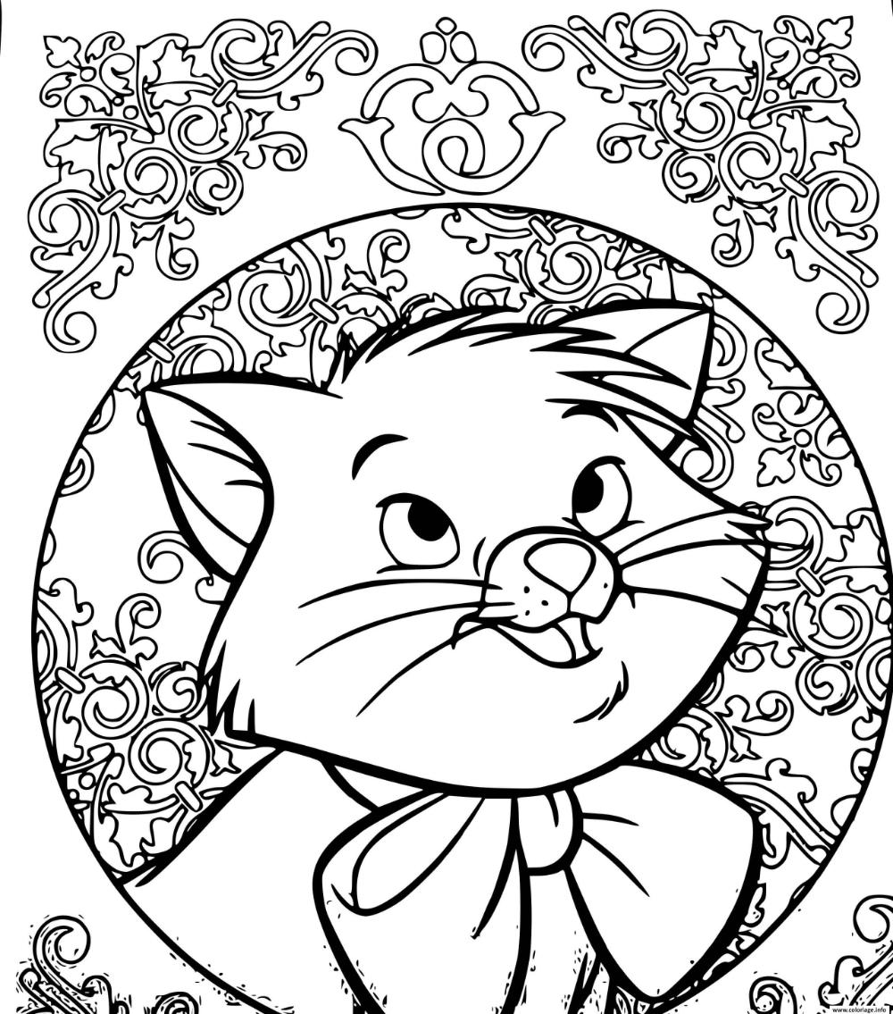 Coloriage chat Marie Disney à imprimer  Coloriage chat, Coloriage