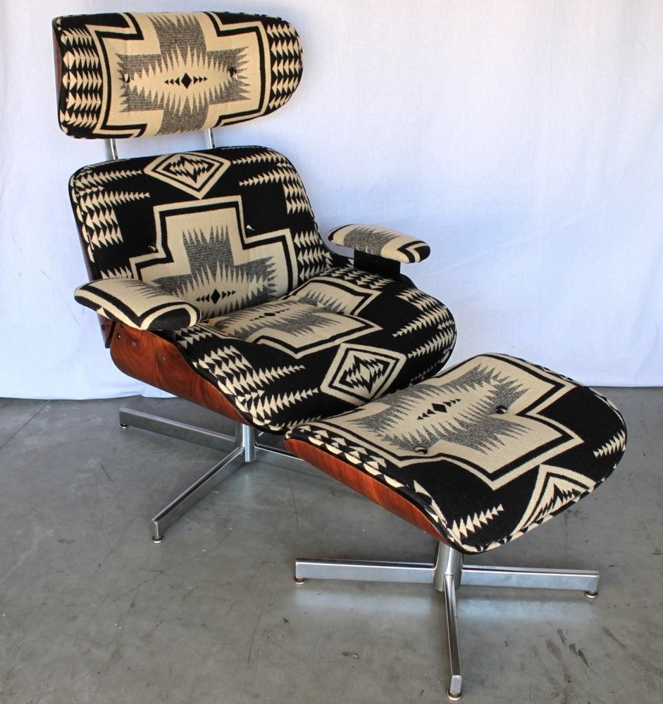 MID CENTURY Navajo PENDLETON Portland LOUNGE CHAIR Ottoman RECLINER Walnut  EAMES