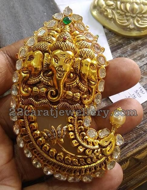 Ganesh Embossed Tiger Claw Pendant Real Gold Jewelry Jewelry Design Gold Jewelry For Sale