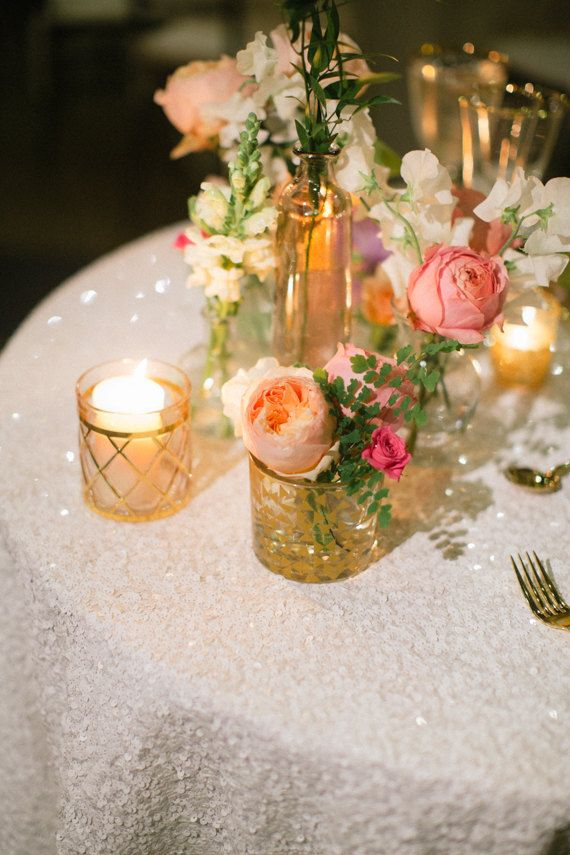 Sparkly White Sequin Table Cloth