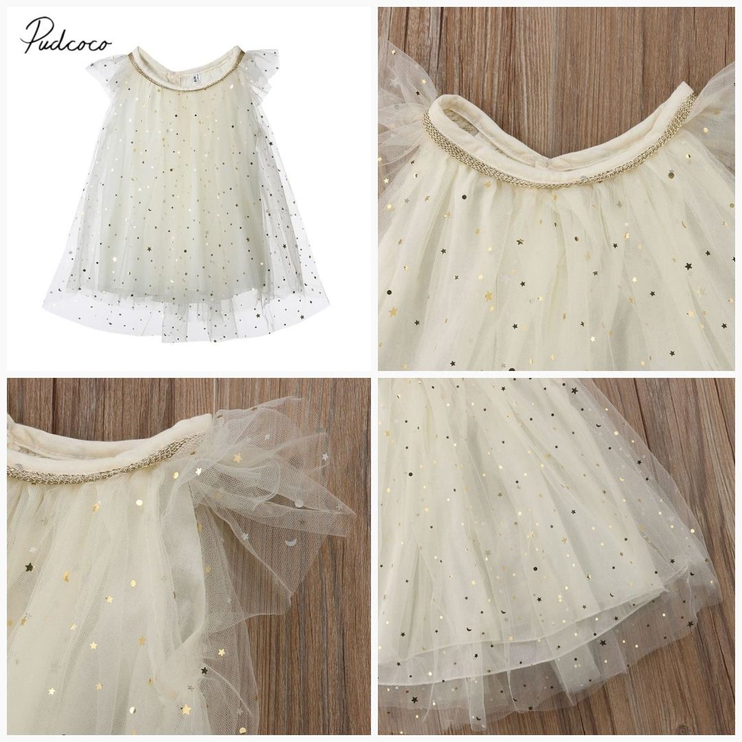 2018 Brand New Princess Dress Summer New Toddler Kids Baby Girl Tutu Tulle Sequin Star Formal Pageant Chiffon Party Dresses 1-6T #babygirlpartydresses