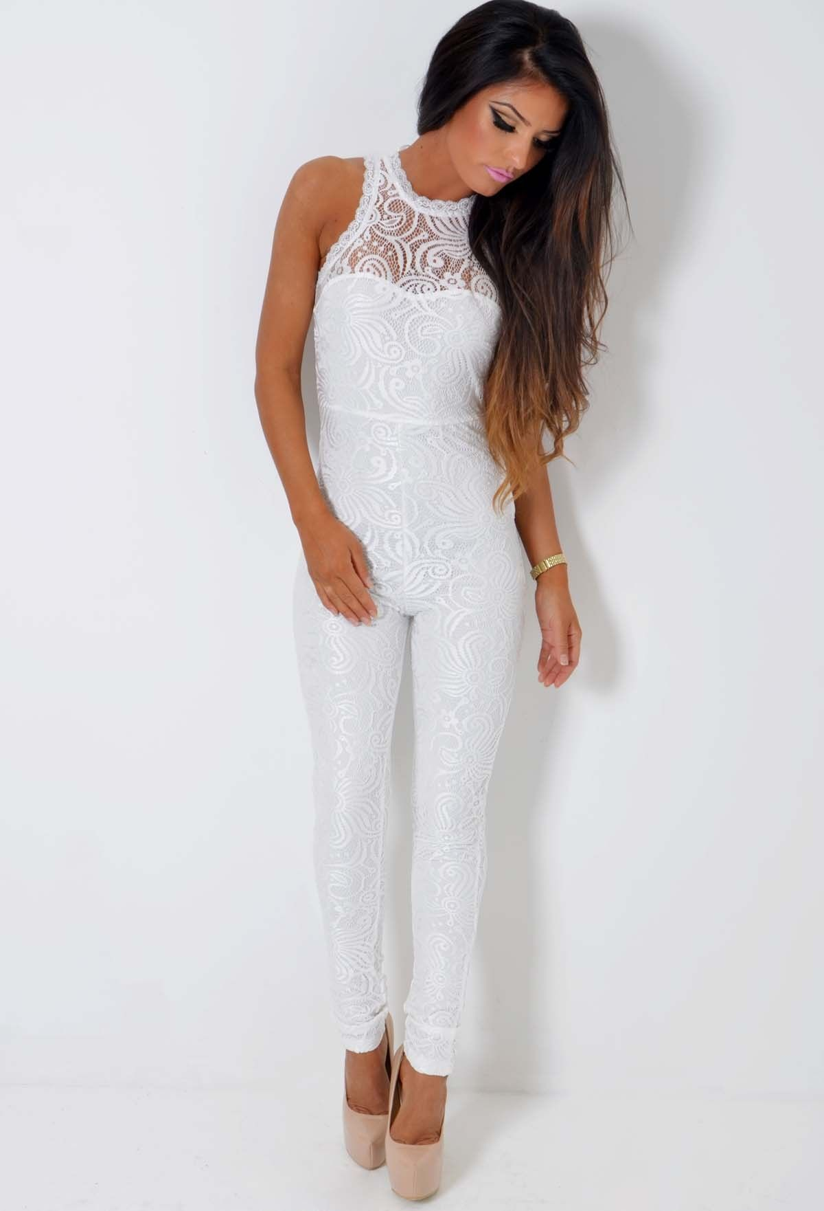 bdfe71df5d8 Shop now www.pinkboutique.co.uk clothing playsuits-and-jumpsuits baroness- white-lace-bodycon-jumpsuit.html