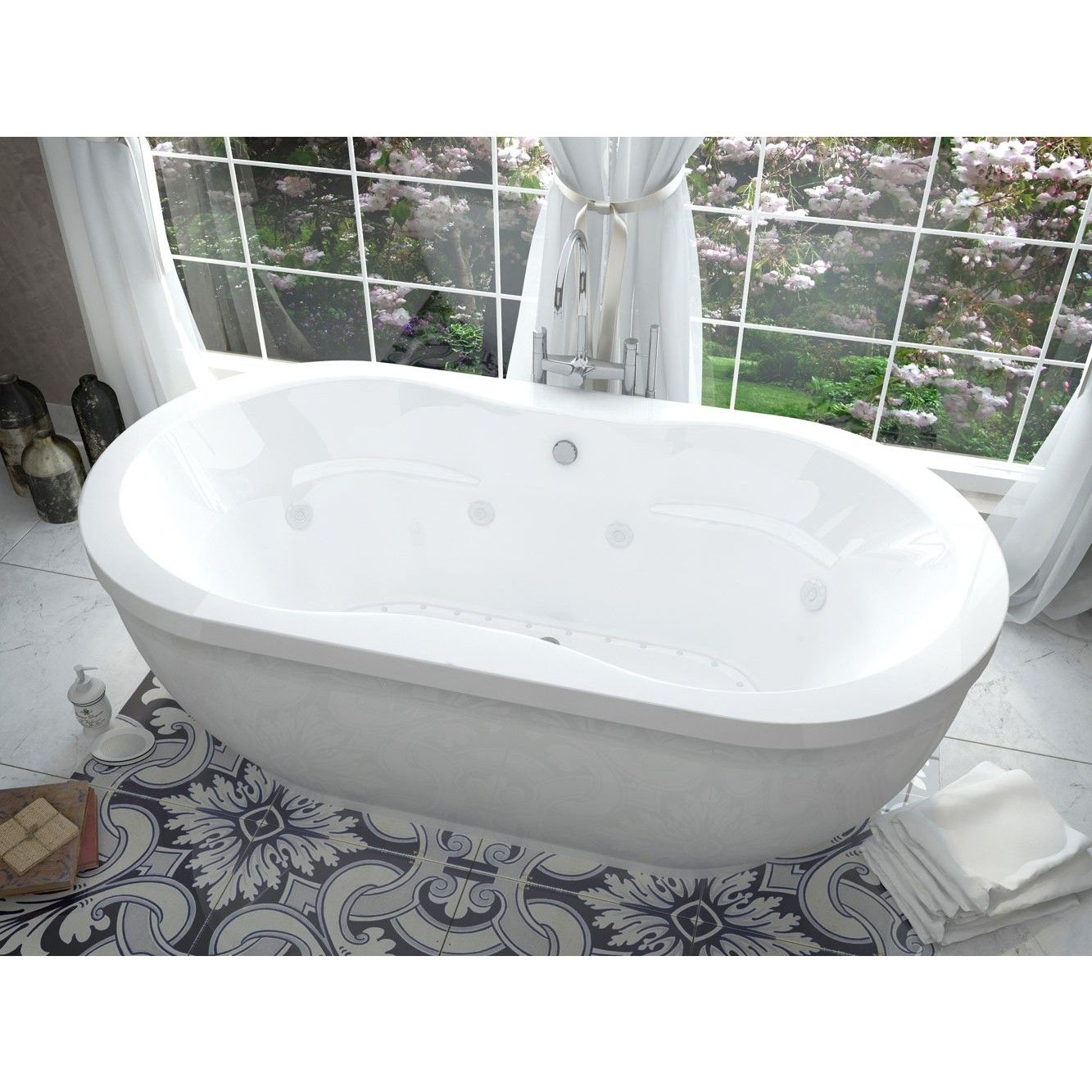 Freestanding Tub With Air Jets.  freestanding jacuzzi bathtub Steam shower