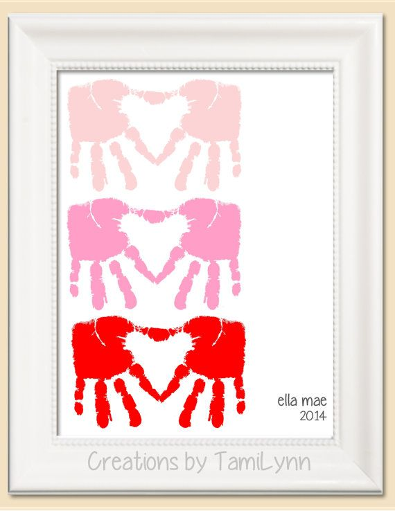 Heart shaped handprint art personalized baby nursery childs room heart shaped handprint art personalized baby nursery childs room valentines day gift for parent grandparent negle Gallery