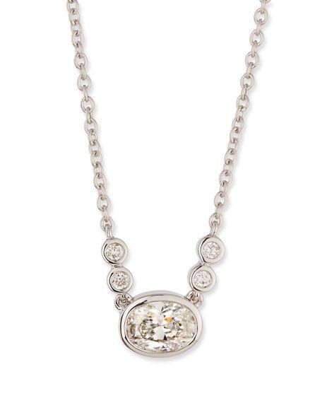 5724f279033ec Bezel-Set Oval Diamond Pendant Necklace in 18K White Gold