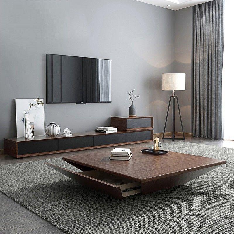 Modern Black Wood Coffee Table With Storage Square Drum Coffee Table With Drawer In 2020 Centre Table Living Room Center Table Living Room Modern Wood Coffee Table