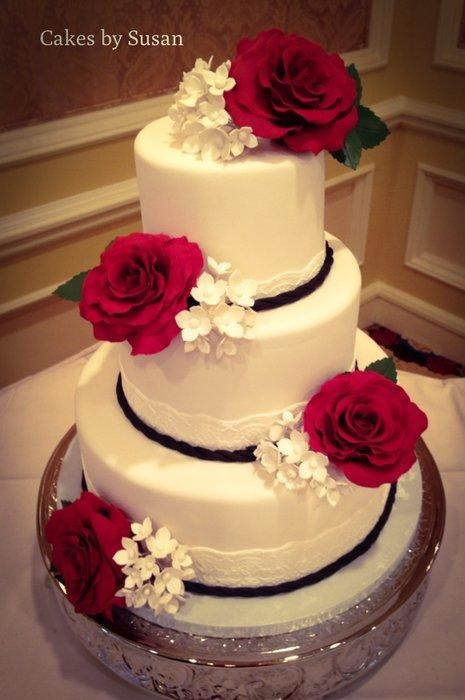 Red rose wedding cake | //All About Cakes// | Pinterest | Red rose ...