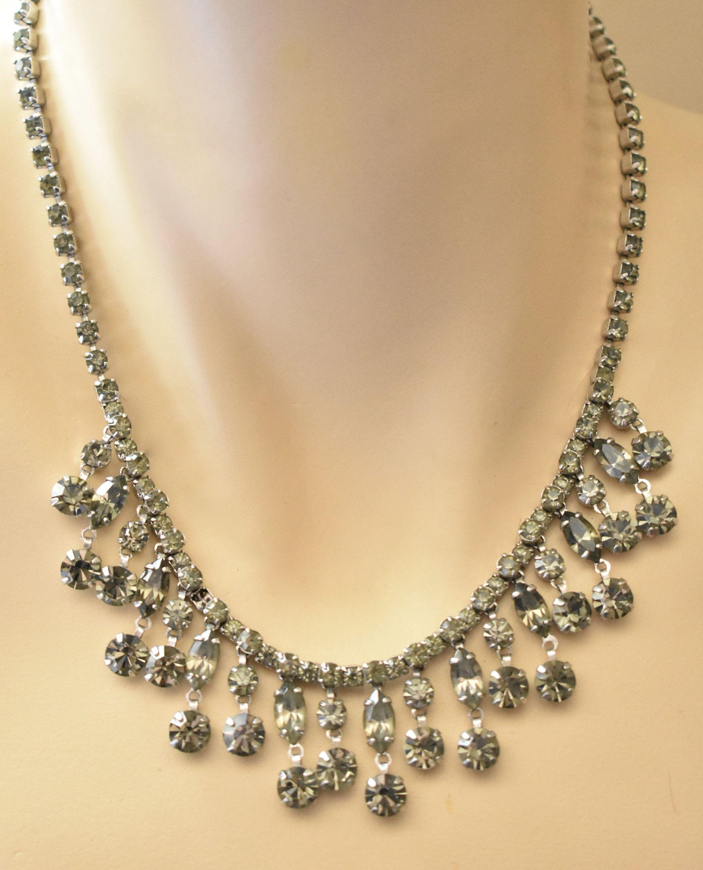 6ee3a18d5 Vintage Smoky Rhinestone Princess Bib Collar Choker Necklace Silver Tone  Wedding Bridal Prom Costume Jewelry by DecoOwl5 on Etsy