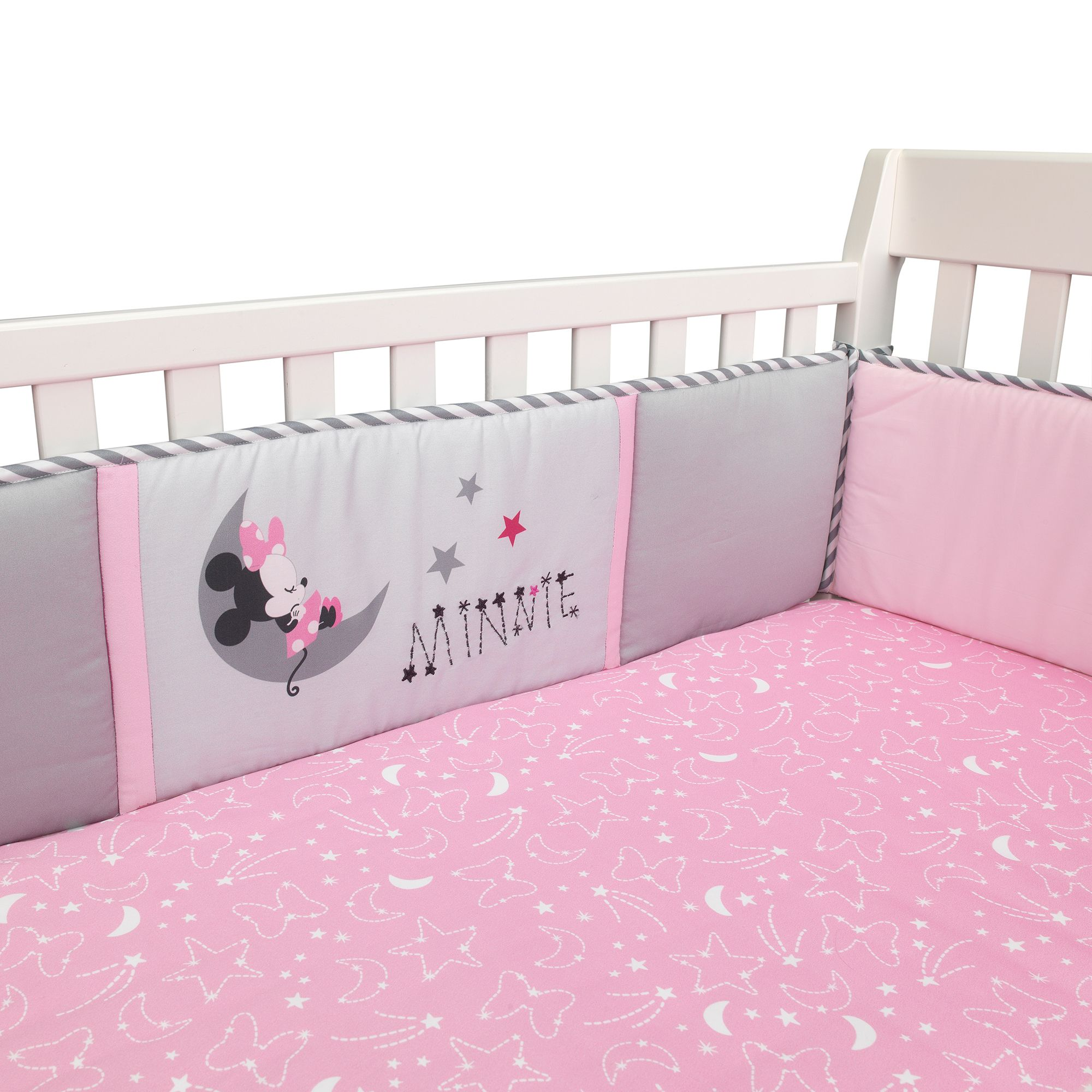 See details Disney Minnie Mouse Loves Dots 3 Piece Baby Crib Bedding Set