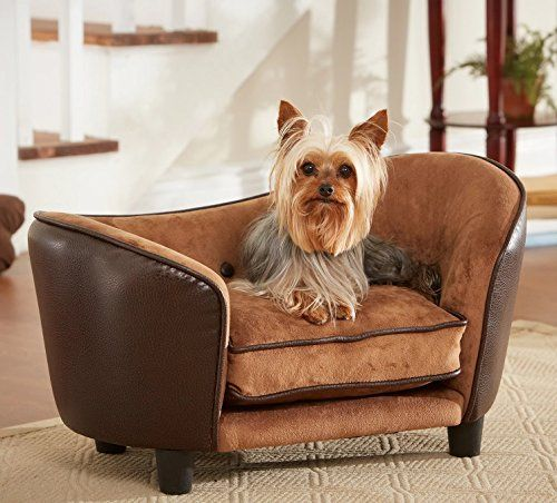 Dog Couch Bed Luxury Deluxe Comfort Leather Lounge In Brown Elevated Sofa Best For Small Dogs With Removable Washable Cover Bundle W Rope Toy More