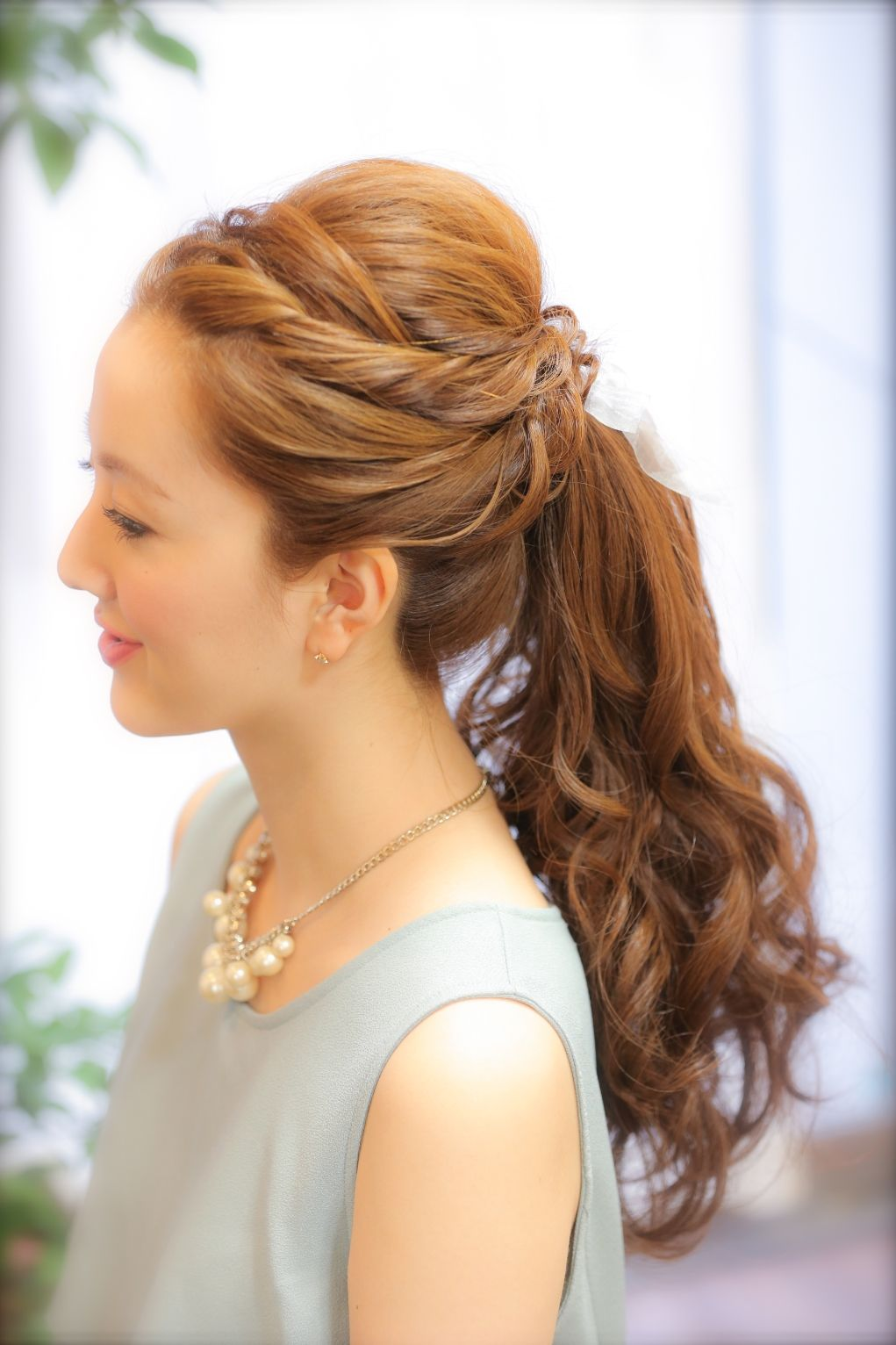 シンプル 大人かわいい ポニーテール☆編み込み 結婚式ブライダル 二次会卒業式着物着付訪問着留袖早朝