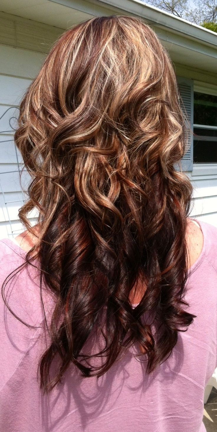 Dark brown hair with caramel highlights and red lowlightsreally