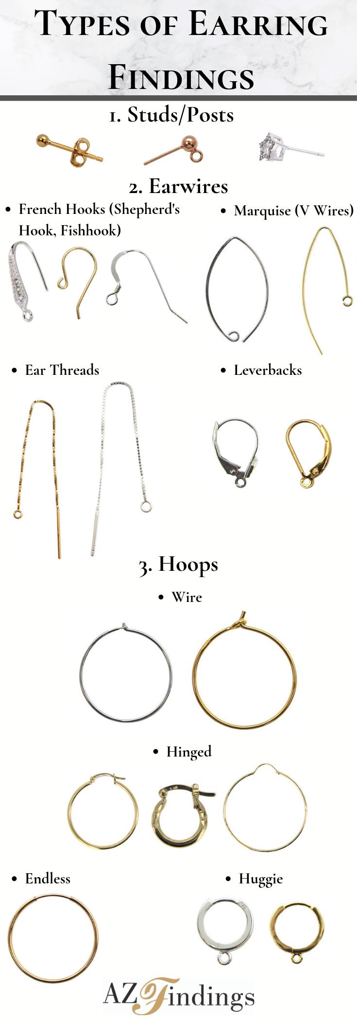 10 Brass Huggie Hoop Earring Findings w// 2-Loops Leverback Earwire 18K Gold 14mm