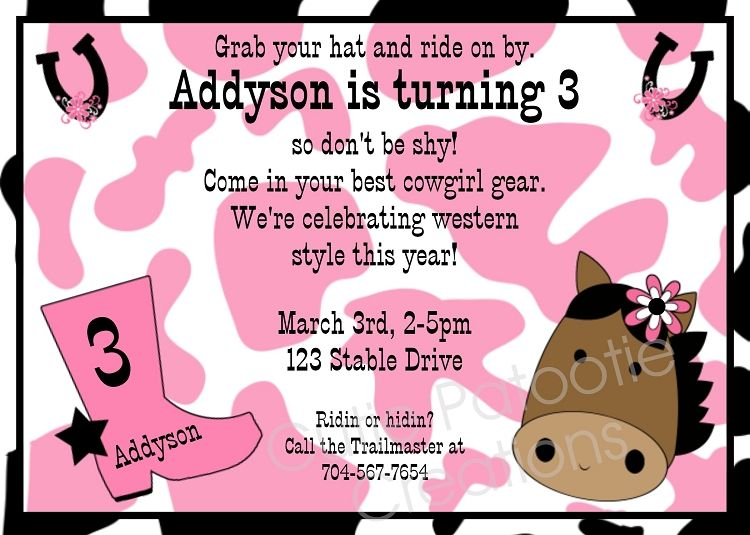 photo regarding Free Printable Cowgirl Birthday Invitations titled Red Cow Print Horse Birthday Invites, Printable or