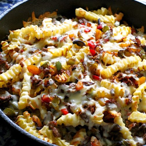 Photo of Loaded Philly Cheesesteak Skillet Fries Recipe – RecipeChart…