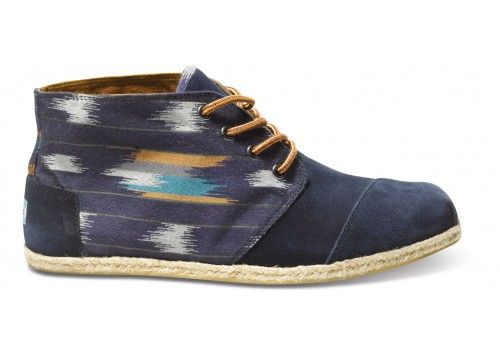 95c16c53479 MENS Botas TOMS+ Navy Ika A desert sky inspired ikat pattern and rope soles  offers a look of casual luxury 3  140