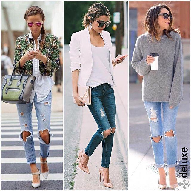 O jeans destroyed pode transformar qualquer produção. O modelo tipo boyfriend favorece todos os tipos físicos, pois não marca o quadril e ajuda a alongar a silhueta...fica ótimo com um bom salto. Já o modelo skinny, um dos meus favoritos, é super feminino e moderno. Gosto de combinar a peça com blazer + t-shirt básica + scarpin! E vocês?  #deluxeconsultoria #dicasdeluxe #consultoriadeimagem #estilopessoal #peçachave #denimRe.