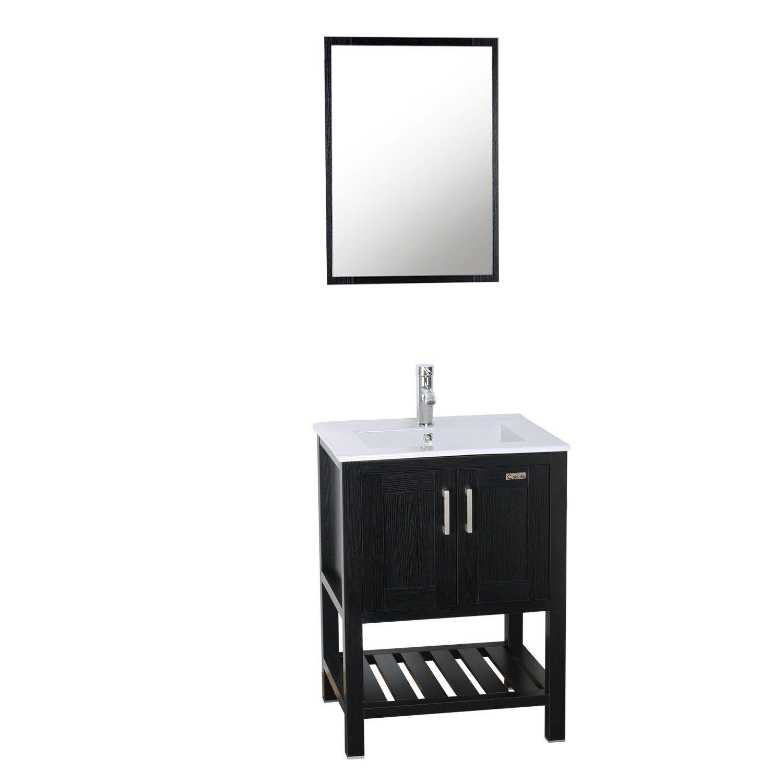 24 inch Bathroom Vanity and Vessel Sink with Vanity Mirror,Modern MDF Cabinet w//Sink Faucet /&Drain Set