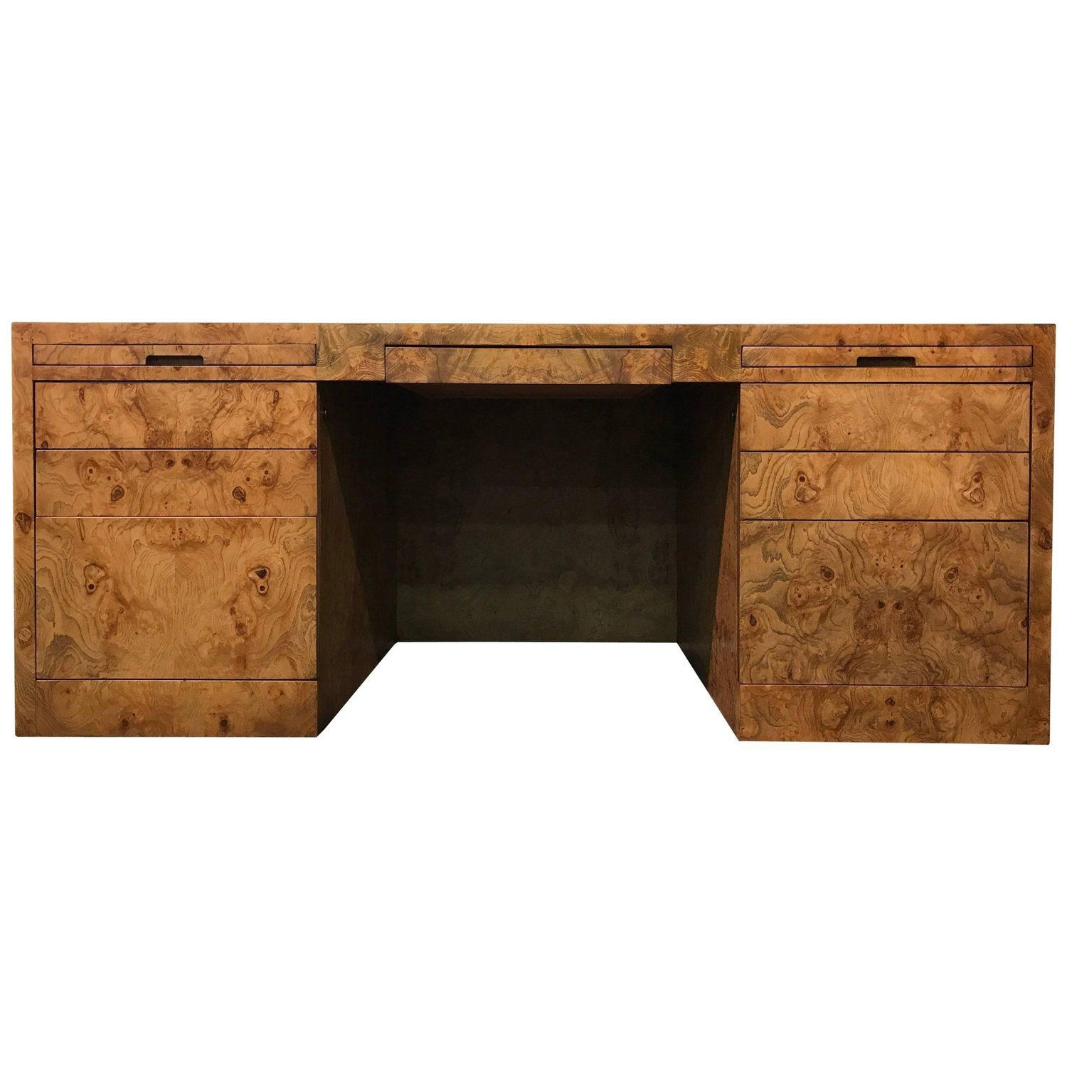 Midcentury Executive Desk In Burl Wood By Directional Furniture #Burlwood