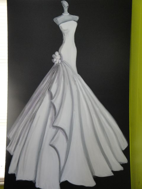 Example Of Custom Wedding Dress Painting By Laura Arts And Design
