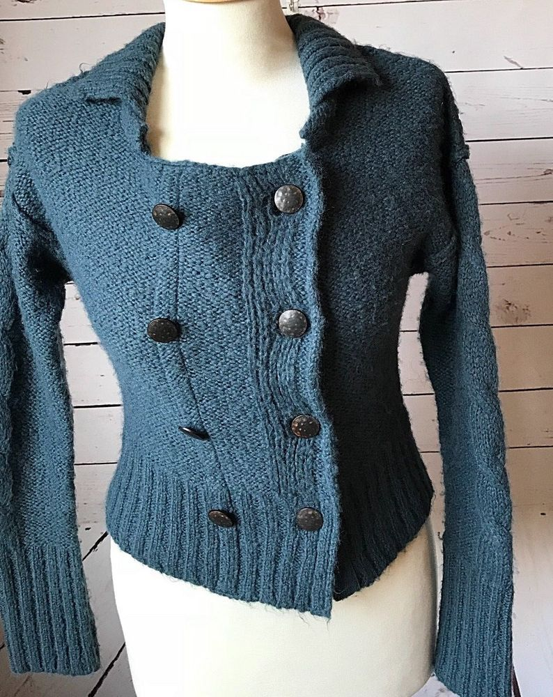 6f455d9ec7 Free People cardigan sweater medium blue gray metal military buttons wool  blend #FreePeople #CardiganSweater #AnyOccasion