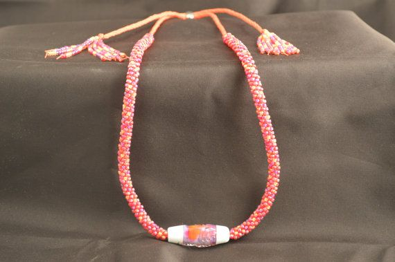 Adjustable Kumihimo Beaded Red Necklace on Etsy, $55.00