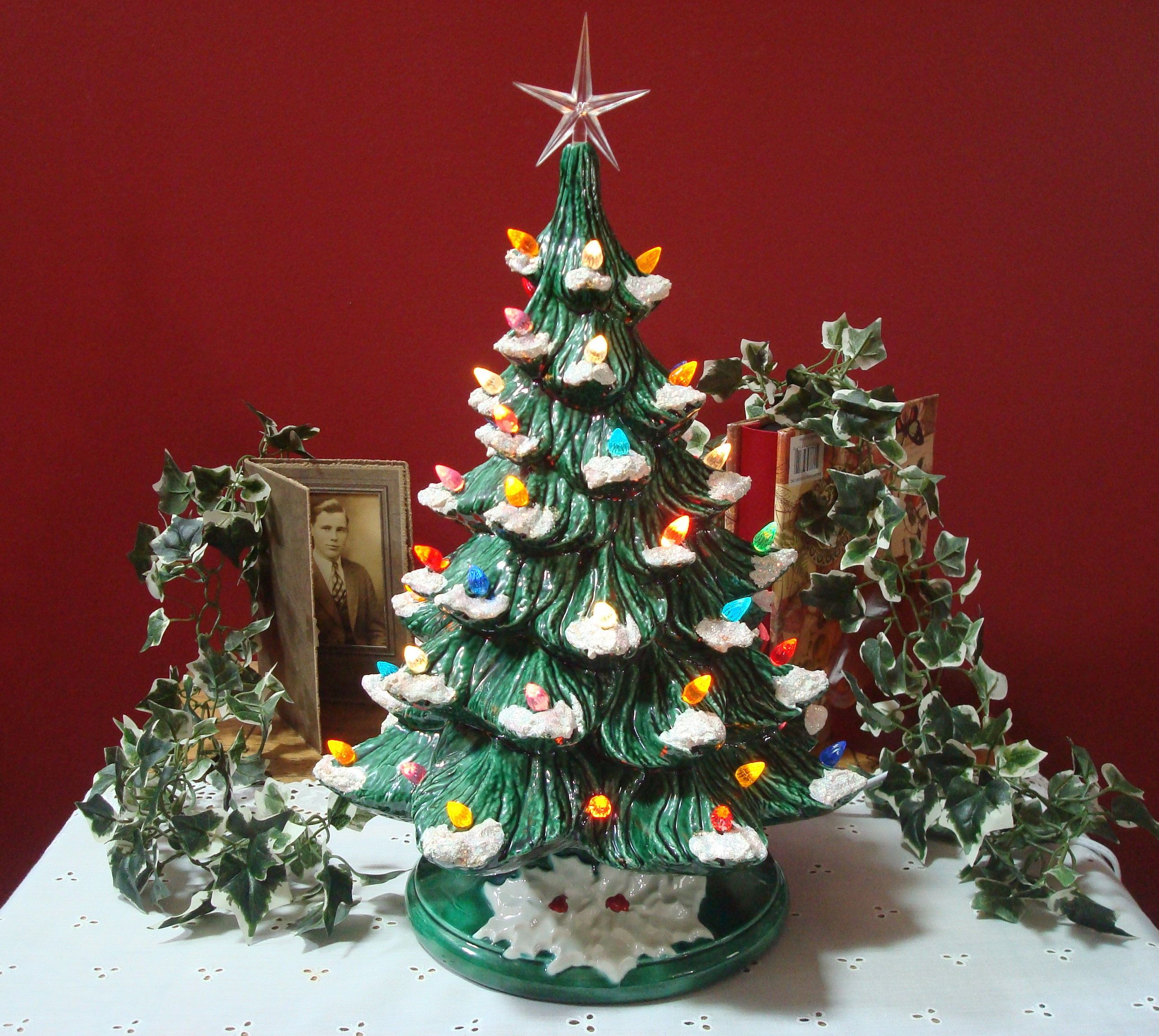 Vintage Beautiful Large Size Green Ceramic Christmas Tree With