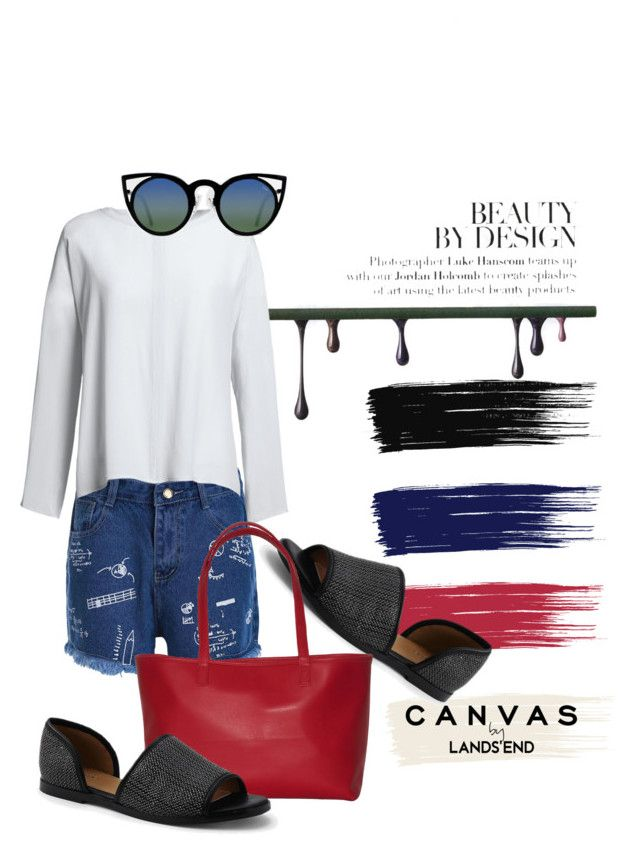 """Paint Your Look With Canvas by Lands' End: Contest Entry"" by baium ❤ liked on Polyvore featuring Lands' End, Canvas by Lands' End, Linell Ellis, Quay and candasbylandsend"