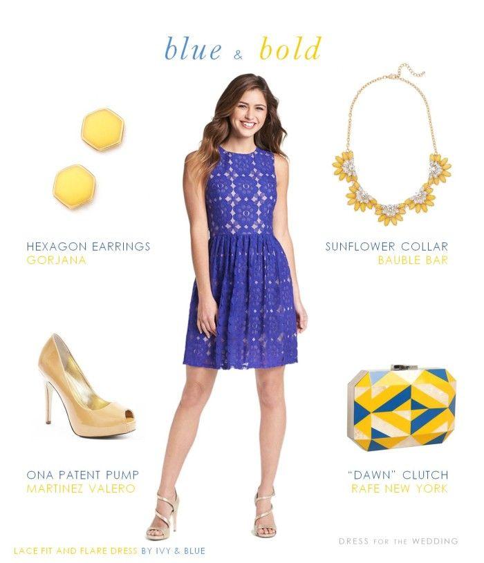 Cobalt Blue Dress with Yellow Accessories | Pinterest