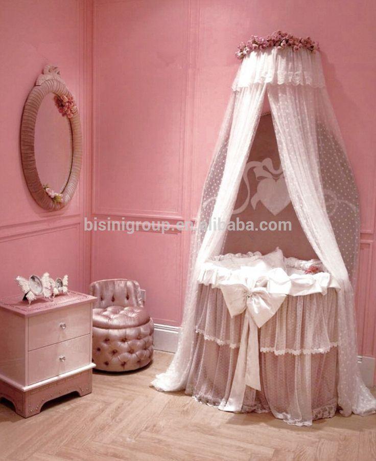 Modern Round Baby BassinetPrincess Pink CradleEuropean Style Ivory White Crib Hammock