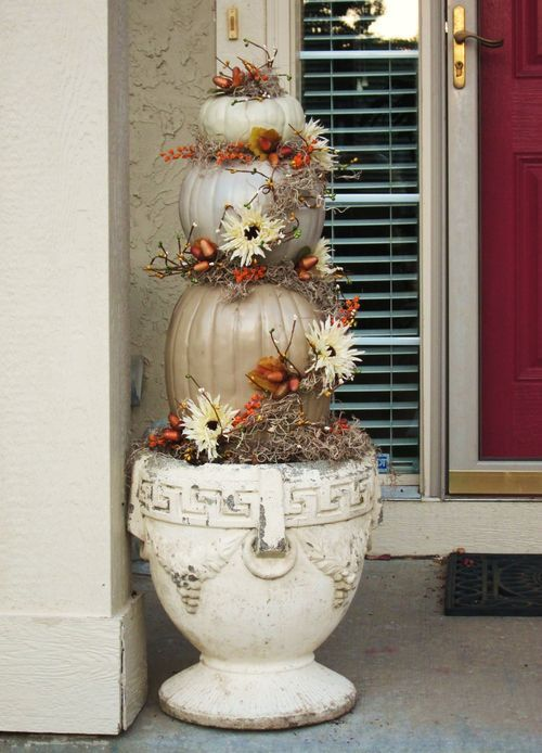 Pumpkin Topiary Ideas Part - 36: Fall Theme: Neutral Pumpkin Topiary For The Entrance To Altar Perhaps?