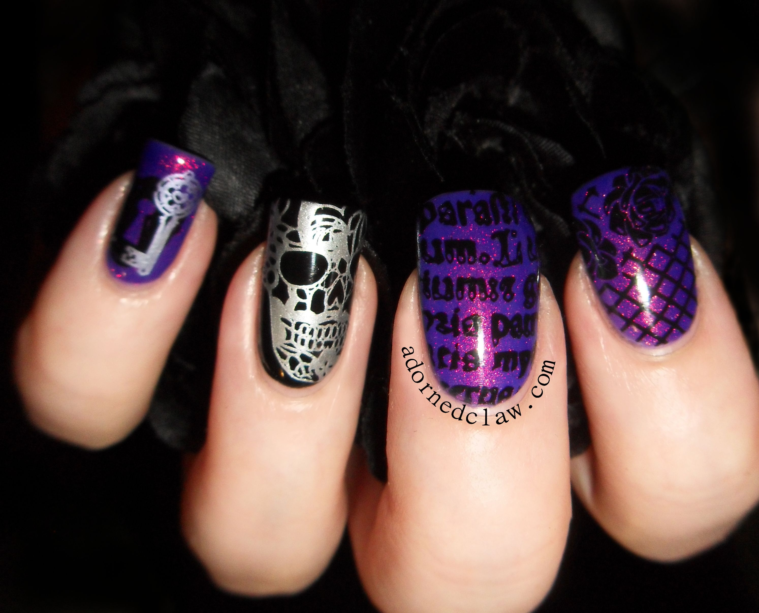 moyou-gothic-collection-purple-glitter-stamp-nail-art ...