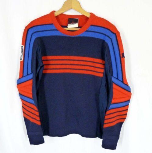 Vintage Vtg 80/'s Downhill Racer Men Blue Red STRIPE Wool Knit SKI RACING Sweater Shirt L