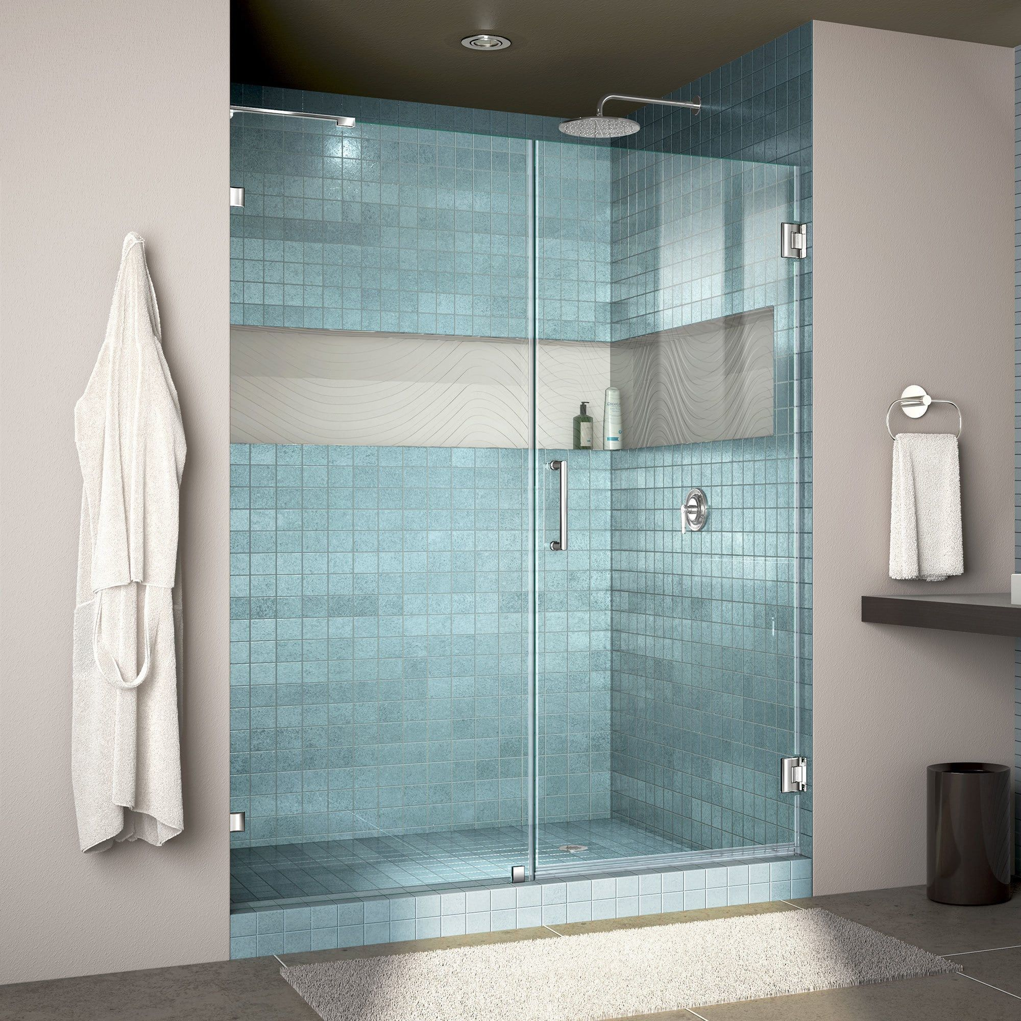 Dreamline Unidoor Lux 53 In W X 72 In H Fully Frameless Hinged