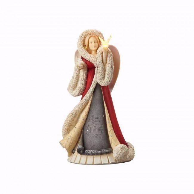Figurine-Heart of Christmas-Angel w/Lighted Dove Angel and Lights