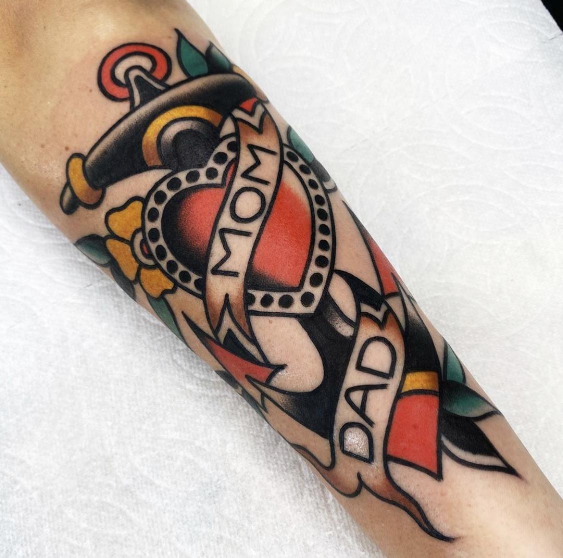 Fam bam. By Derek Sayeg at Genuine Electric Tattoo in LA