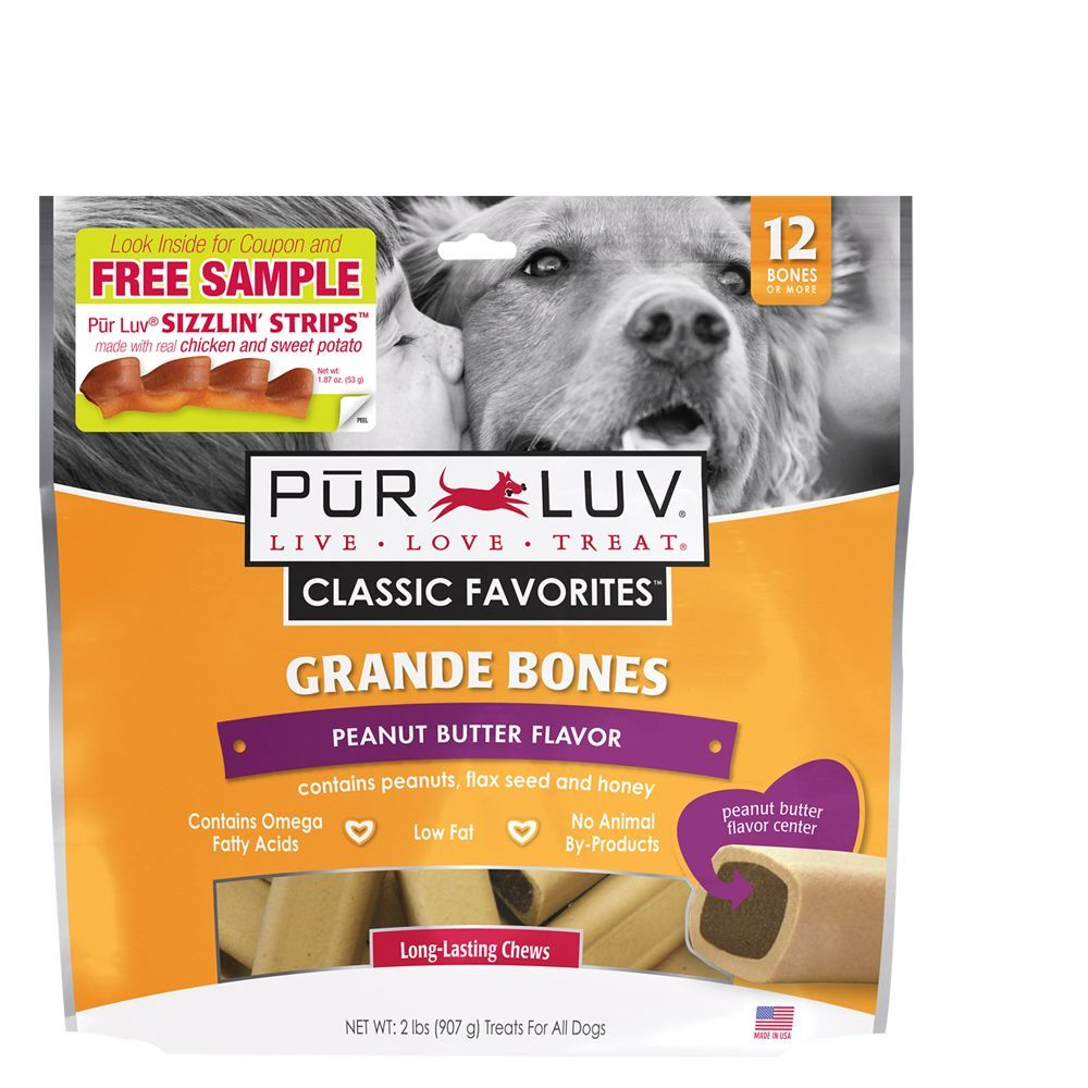 Pur Luv Grande Bones Dog Treats Size 12 Count Peanut Butter