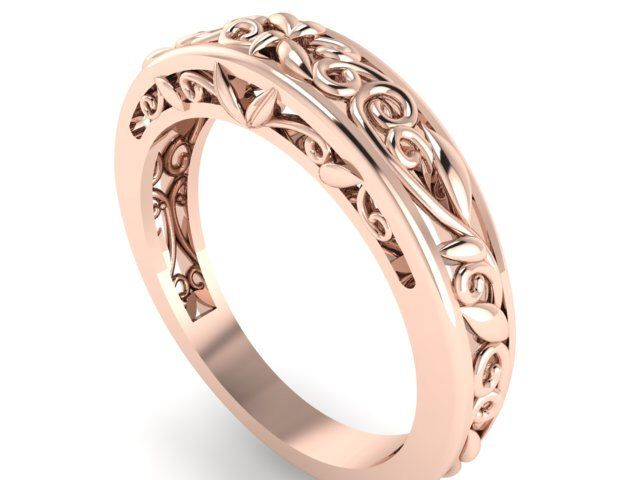 14k Rose Gold Wedding Band Matching Rustic Style Leaves And Vine Engagement Feminine Ring By Bridalrings On Etsy