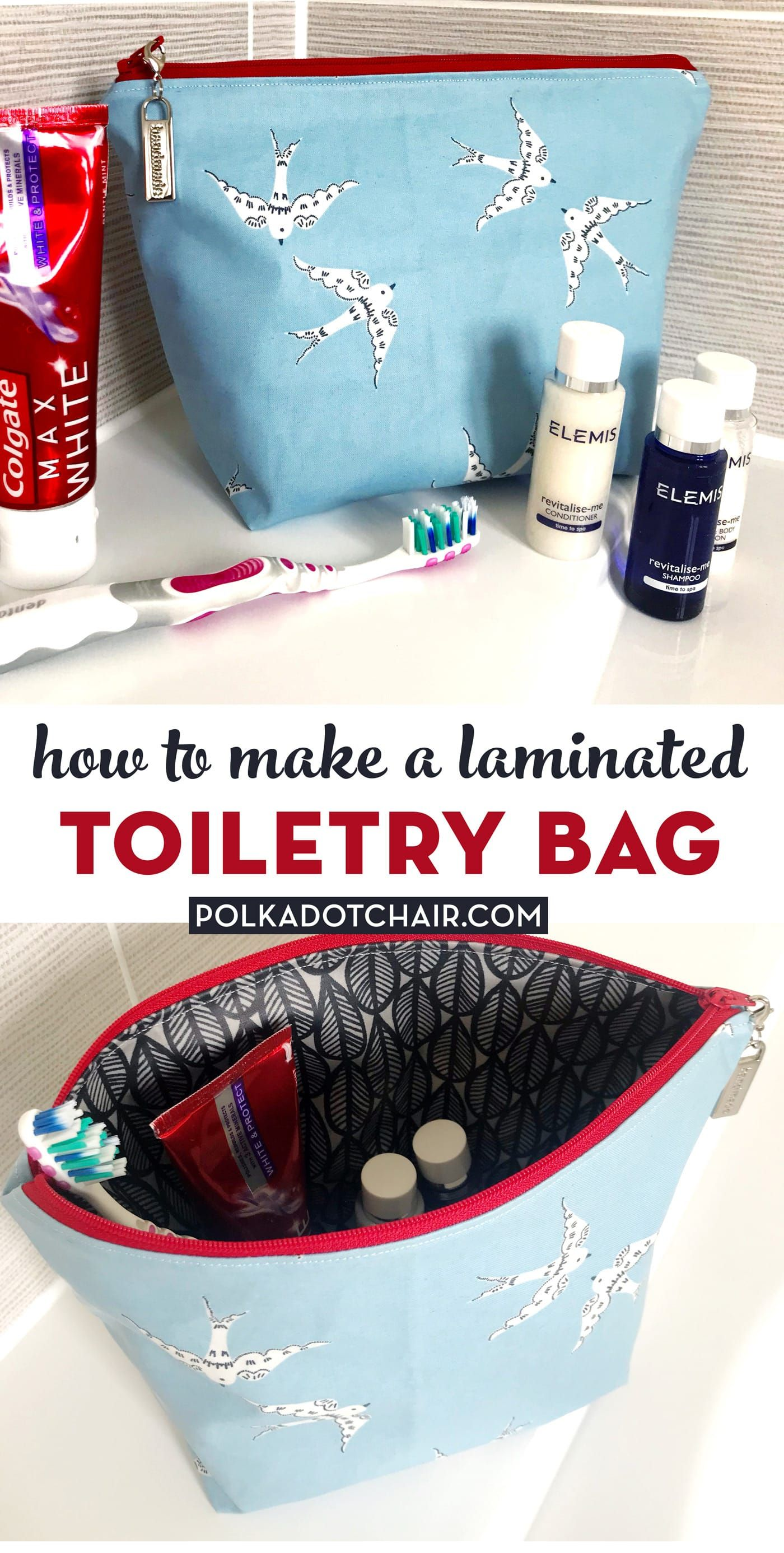 Learn how to make a toiletry bag with laminated fabric Wipes clean easily How to sew a wash bag