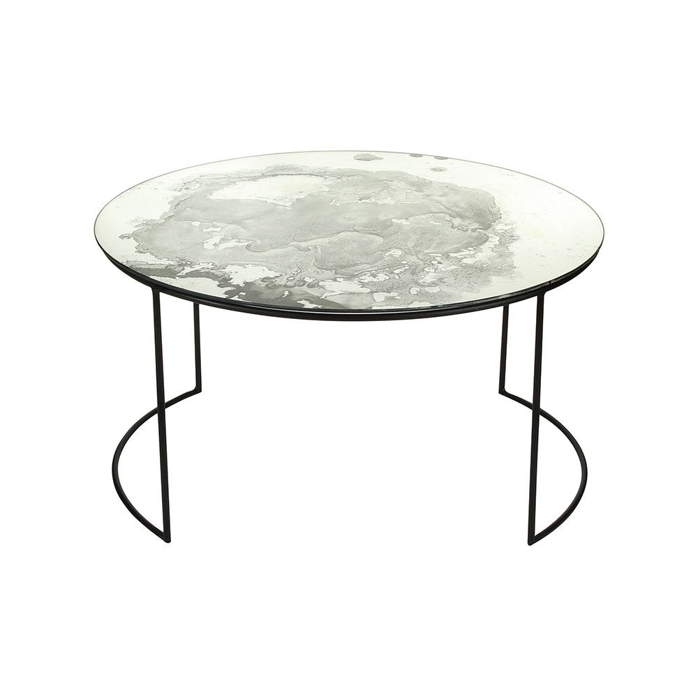 Iridescent Glass Round Table Side Table
