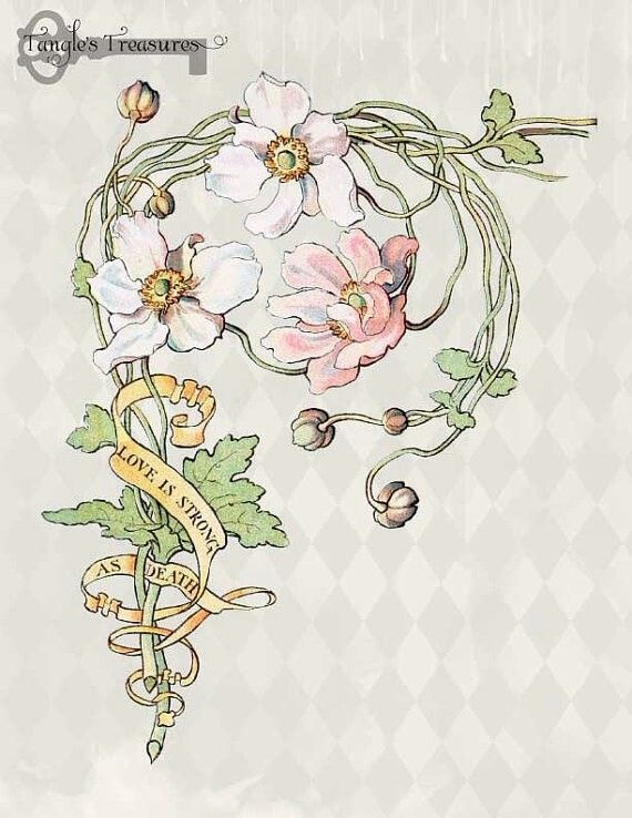 Art Nouveau Flower Tattoo Gis: For The Flowers. Not The Text.