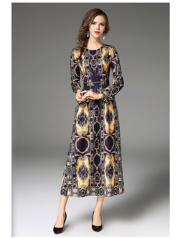 4f0b5214e74 2018 Autumn Winter New Women Maxi Dress European American Style New  Arrivals High-end Fashion Print Slim Long Sleeve Dresses. Yesterday s  price  US  39.68 ...