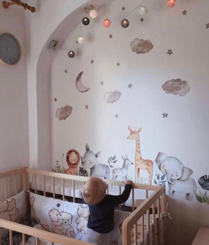 Baby Blue Nursery Wall Art Jungle Wall Decals Boy Wall Etsy Baby Blue Nursery Nursery Wall Art Boy Baby Boys Wall
