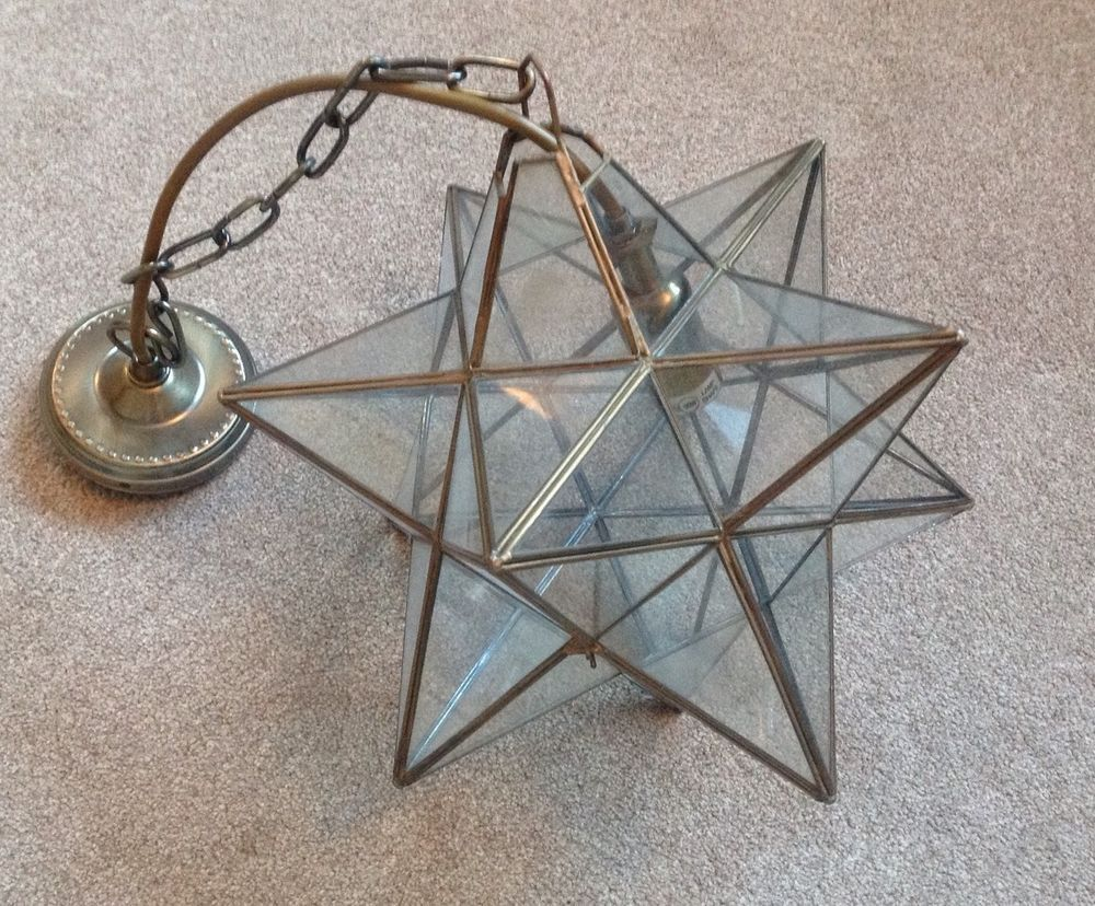 vintage glass geometric star light shade in home. Black Bedroom Furniture Sets. Home Design Ideas