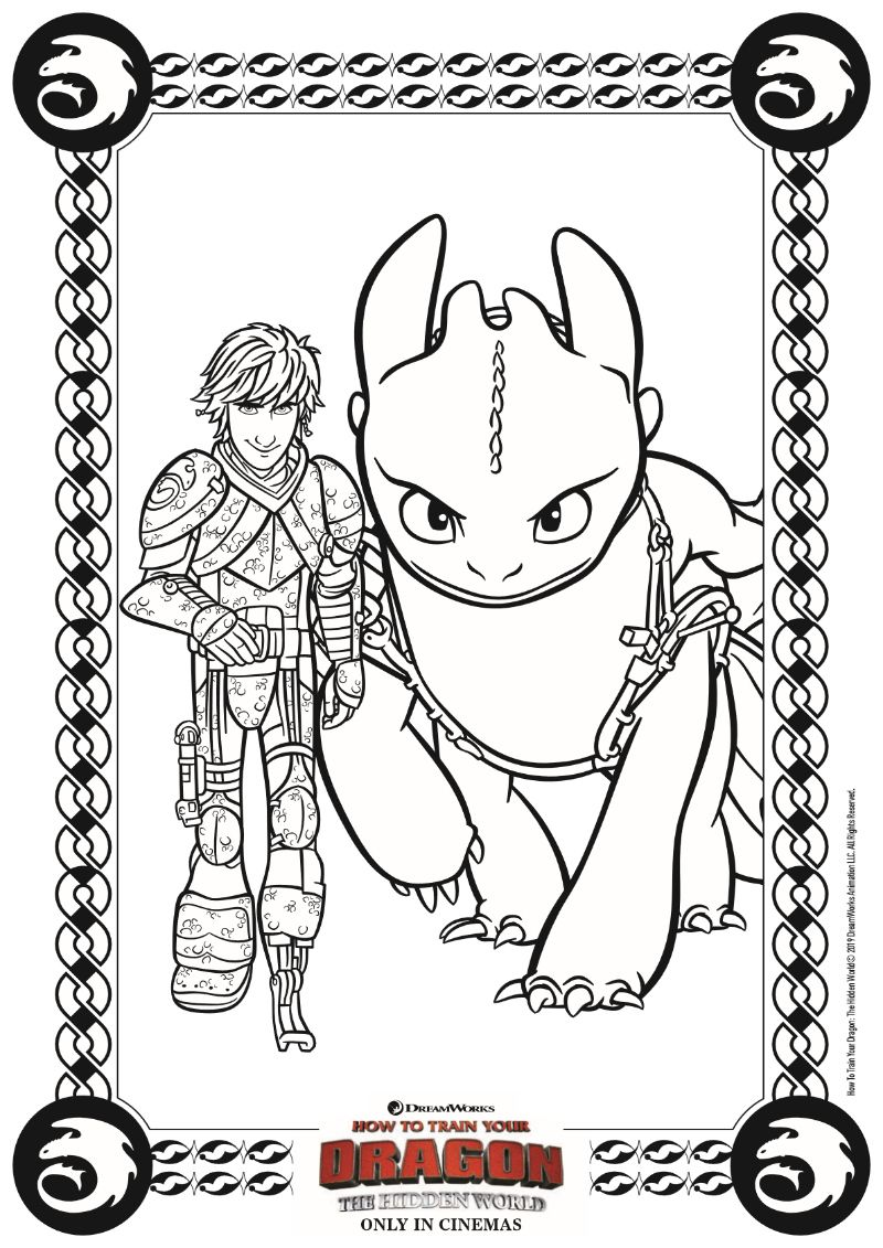 Hiccup and Toothless Coloring Page from HTTYD 3 Dragon
