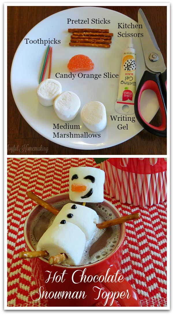 Hot Chocolate Marshmallow Snowman Topper #hotchocolaterecipe