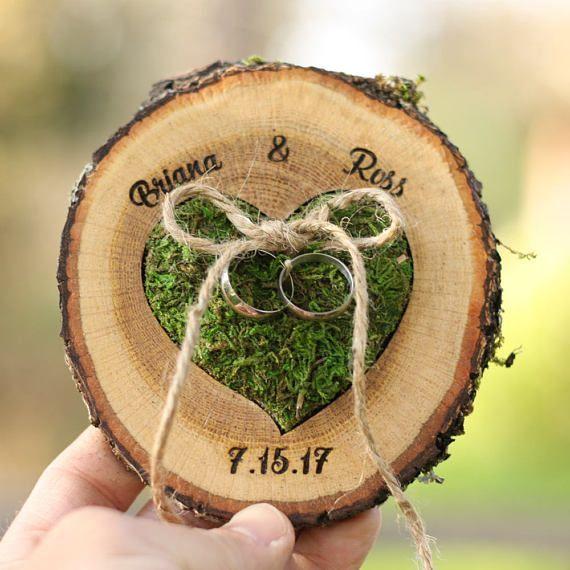 Ehering Box Alternative  WANDANZEIGE Ringträger Display Land Hochzeit Vorschlag Ringhalter Ehering Woodland Ringhalter Kissen  Hochzeit