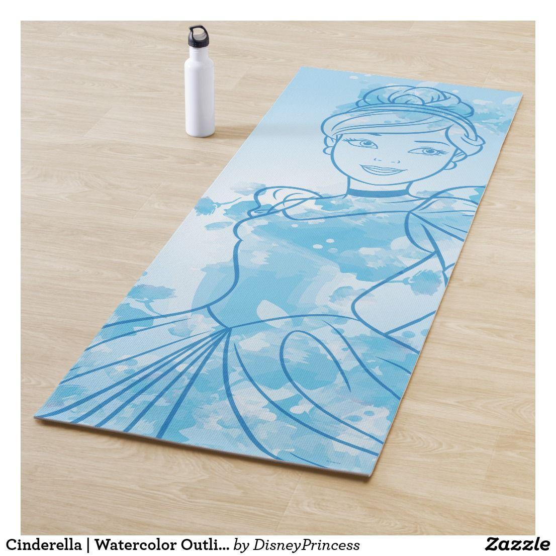 Cinderella Watercolor Outline Yoga Mat Zazzle Com Custom Yoga Mat Yoga Mat Floral Yoga Mat