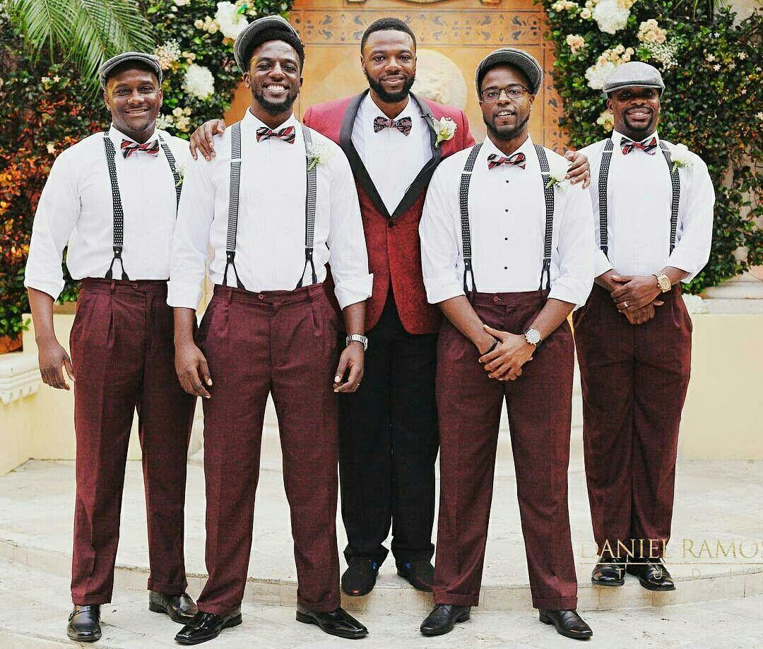 Burgundy groomsmen. marsala. Bowties. Suspenders. Black groomsmen. Hats.  -photo by Daniel Ramos 5d4add3c849