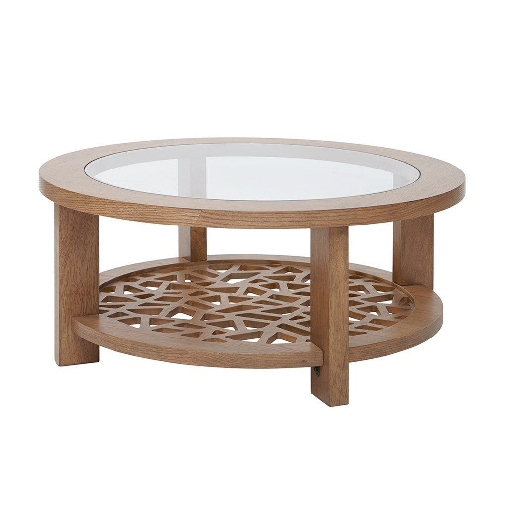 Modern Wood Round Cocktail Coffee Table With Glass Top And Bottom Shelf Awesome Products Selected By Coffee Table Glass Top Coffee Table Round Coffee Table [ 1023 x 1023 Pixel ]